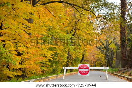 Do not enter traffic sign on a forest road in autumn with yellow trees - stock photo