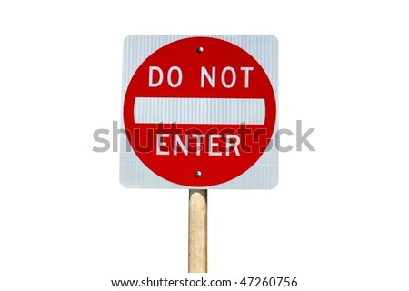Do not enter traffic sign on white background - stock photo
