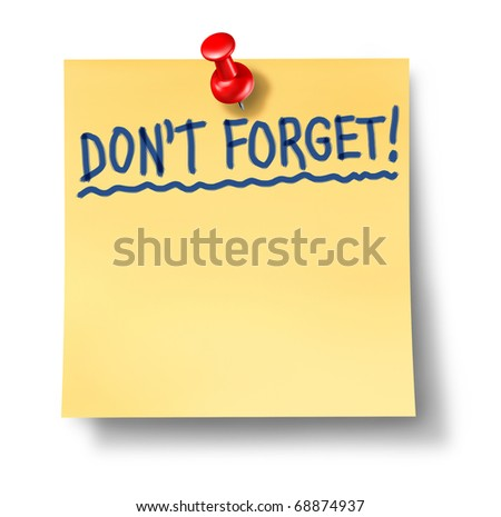 do not forget don't reminder alzheimers memory recall memories list blank paper - stock photo