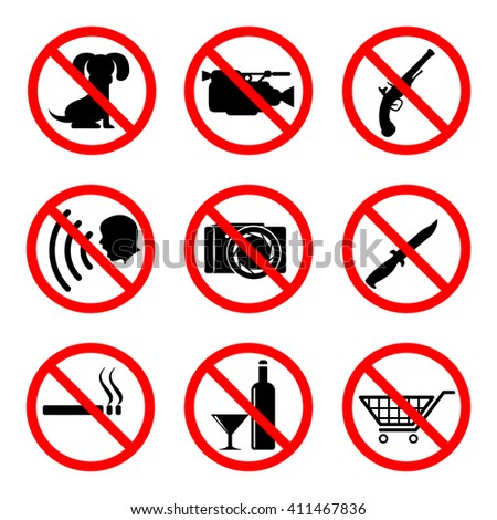 Do not icons set, 9 main prohibiting signs, 2d raster symbols