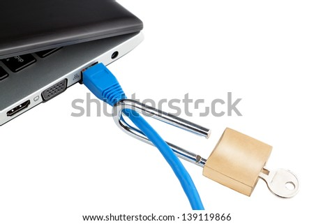 Do not secure the laptop from hacker attacks. Concept picture. - stock photo