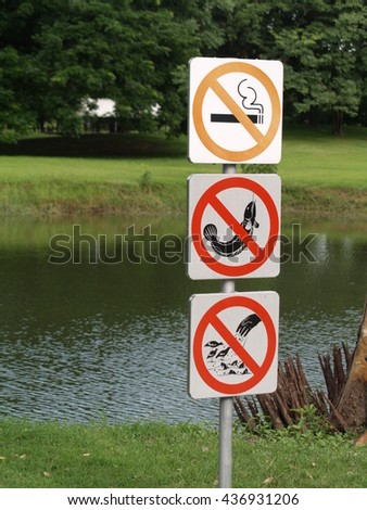 Do not smoke,Fishing ban,Do not feed the birds label