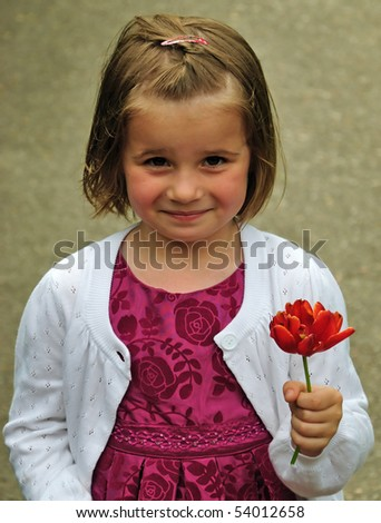 Do you want my flower? - stock photo