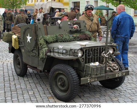DOBRANY, CZECH REPUBLIC - MAY 2, 2015: American military jeep heavy armored. Liberation festival to 70th Anniversary of the Liberation by the US Army and the End of the Second World War in Europe. - stock photo