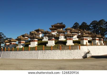Dochula Pass Chortens, Bhutan - stock photo