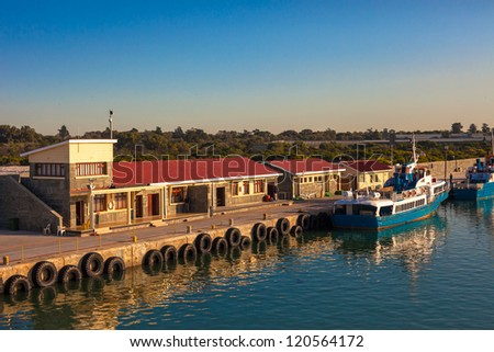 Dock at Robben Island Prison, South Africa - stock photo