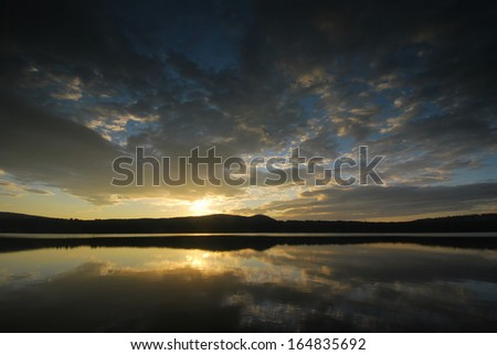 Dock in the Lake Region of New Hampshire - stock photo