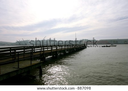 Dock Looking Toward Mayer Island Vallejo California - stock photo