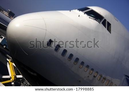 Docked Boeing 747 - stock photo