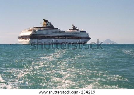 docked in St. Maarten US Virgin Island - stock photo