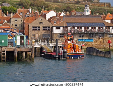 Docked lifeboat in the popular fishing port of Whitby, North Yorkshire, England