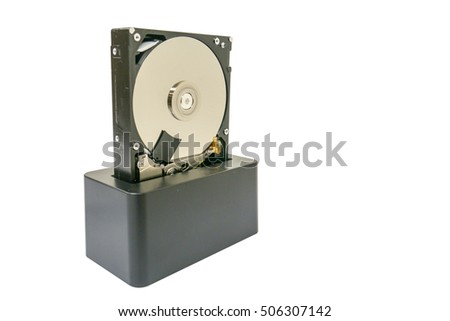 Docking station for hard disk isolated on white background and  bare hard drive