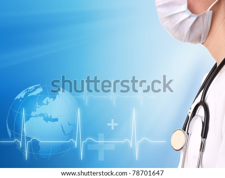 Doctor and ecg line with medical background - stock photo