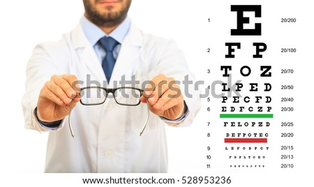 Doctor and eye vision test on white background