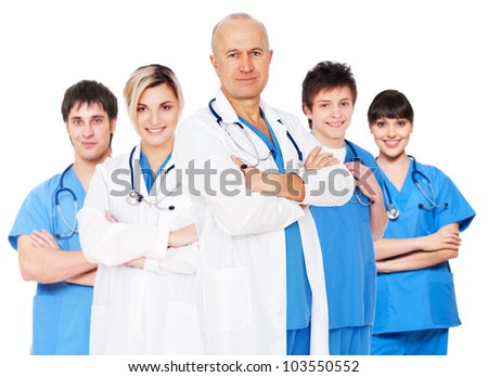 Doctor and his team isolated on white background