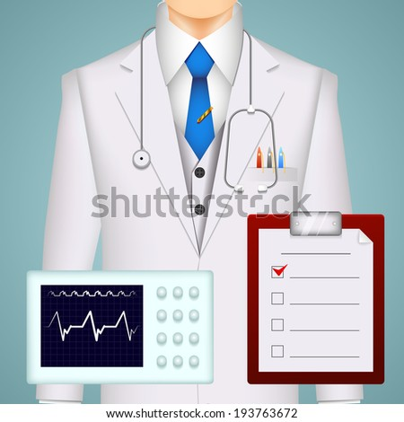 Doctor and medical charts and scans background with an electrocardiogram tracing  a MRI brain scan and a clipboard with a checklist in front of the torso of a doctor wearing a stethoscope and lab coat - stock photo