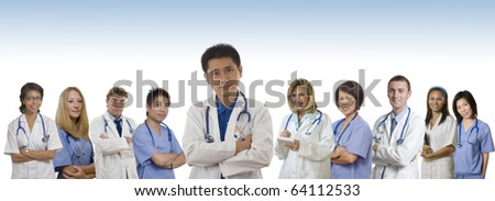 Doctor and Nurse and Interns standing with white background - stock photo