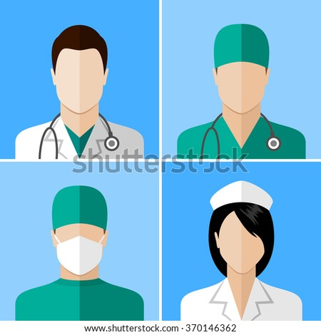 Doctor and nurse icons. Flat style design collection - stock photo