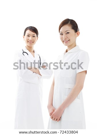 doctor and nurse on background, isolated on white - stock photo