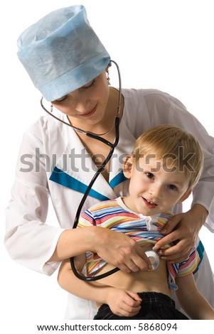 Doctor and small patient - stock photo