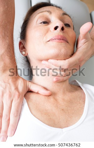 Doctor applying a head manipulation