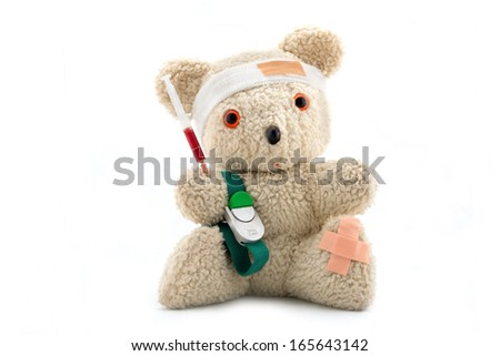 Doctor bear is giving a blood sample, isolated on white - stock photo