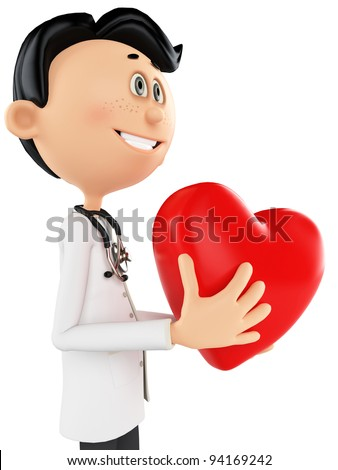 doctor cartoon is holding a heart - stock photo