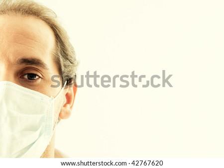 Doctor closeup with flu mask - stock photo