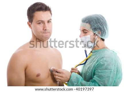 doctor doing a medical exame to the patient - stock photo
