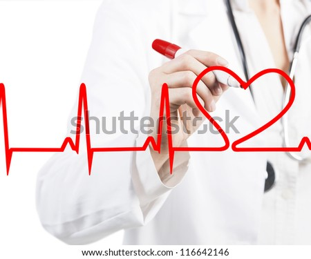 Doctor drawing a heart beats ECG - stock photo