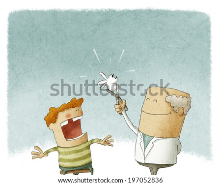 Doctor extracting a tooth for a child - stock photo