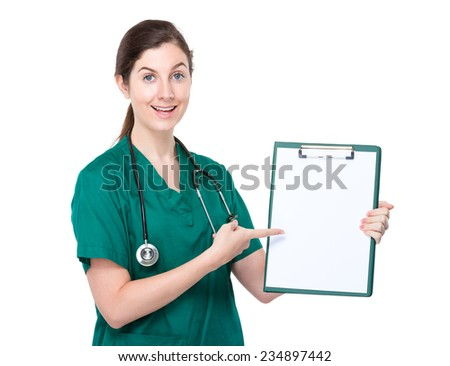 Doctor finger point to clipboard