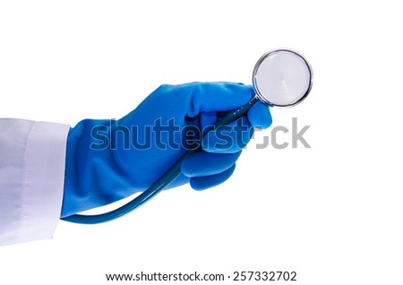doctor hand holding stethoscope isolated on white background - stock photo