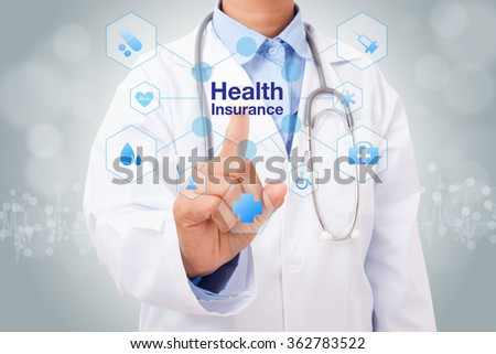 Doctor hand touching health insurance sign on virtual screen. medical concept - stock photo