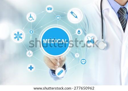 Doctor hand touching MEDICAL sign on virtual screen - stock photo