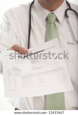 Doctor handing medical billing statement to patient - stock photo