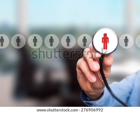 Doctor hiring personnel. Man hand with stethoscope. Business, hr, recruitment concept. Isolated on office. stock Photo. - stock photo