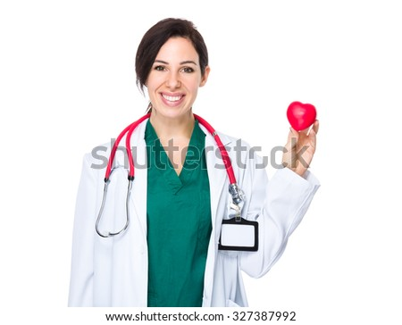 Doctor hold with heart ball - stock photo