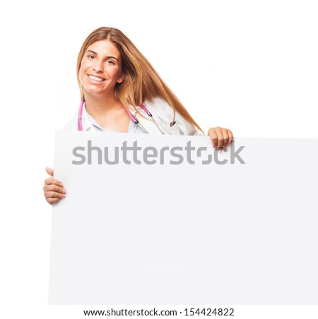 doctor holding a white banner on a white background