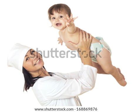 Doctor holding baby over his head. Isolated on white. - stock photo