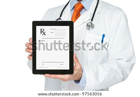 Doctor holding digital tablet with blank prescription on it - stock photo
