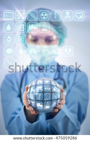 Doctor holding earth in global medicine concept