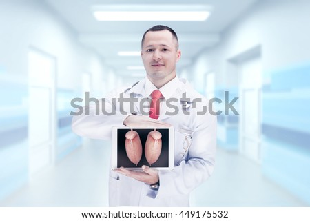 Doctor holding human organs on the tablet . High resolution.