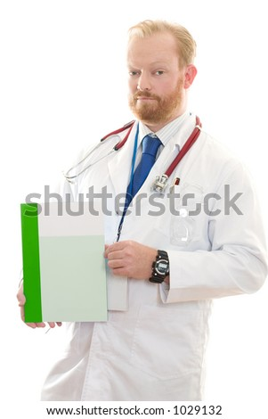 Doctor holding some helpful information or facts.