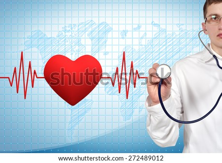 doctor holding stethoscope with pulse and heart on background - stock photo