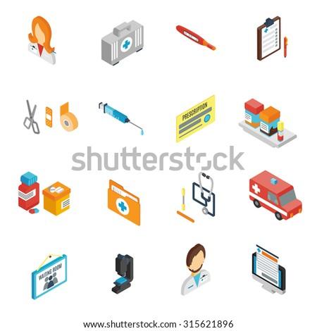 Doctor icon isometric set with pharmacy medical staff physician symbols isolated  illustration - stock photo