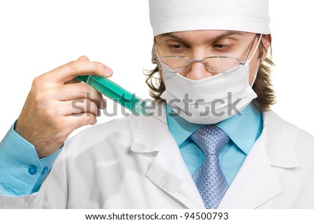 doctor in a mask looking isolated on white background