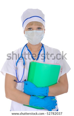 doctor in a mask with documents in hand. Isolated on white background - stock photo