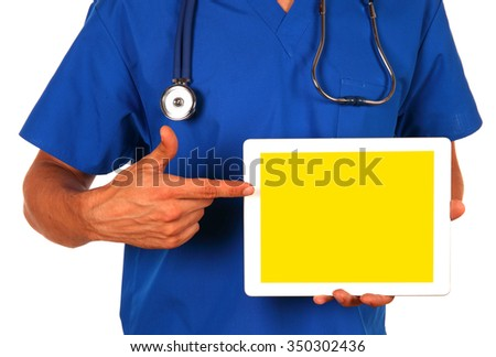 Doctor in blue uniform with stethoscope showing digital tablet pc. Isolated on white. - stock photo