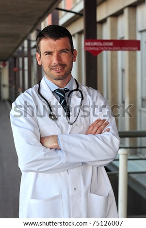 doctor in hall - stock photo